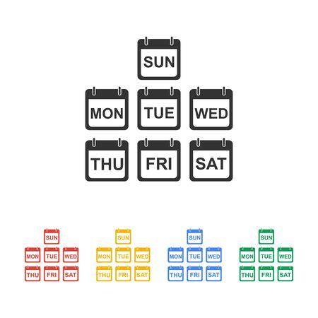 トレンディなフラット スタイルは、現実的なベクトルのカレンダー アイコンのイラスト。毎日週のカレンダー アイコンのセットです。 写真素材