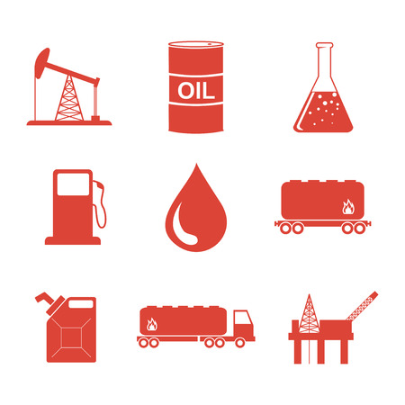 refinery engineer: Oil and petroleum icon set. Flat design style