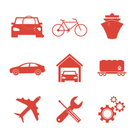 economy class: Transportation icons. Flat design style