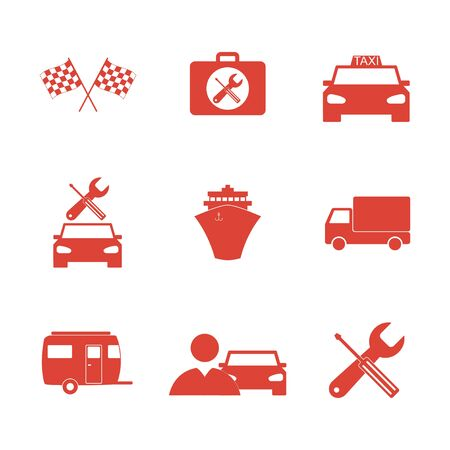 shifter: Transportation icons. Flat design style