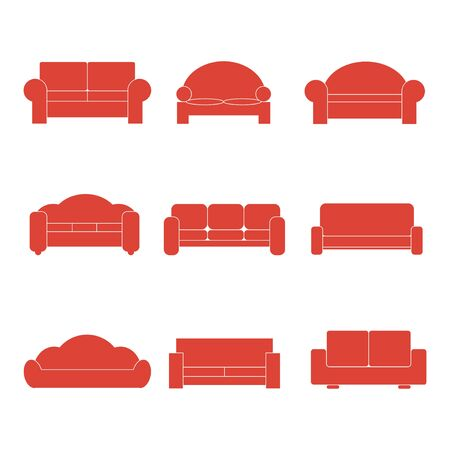 illustrator  vector: Comfortable sofa Icons. Vector Illustrator.  Illustration