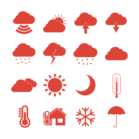 meteo: Meteo Web Icons Set, stile Design piatto