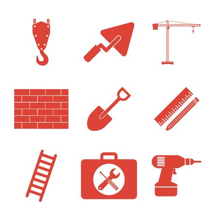 nipper: Working tools icon set. Flat design style