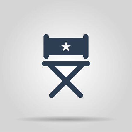 s video: director chair icon. Flat design style