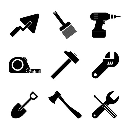 nipper: Working tools icon set. Flat design style Illustration