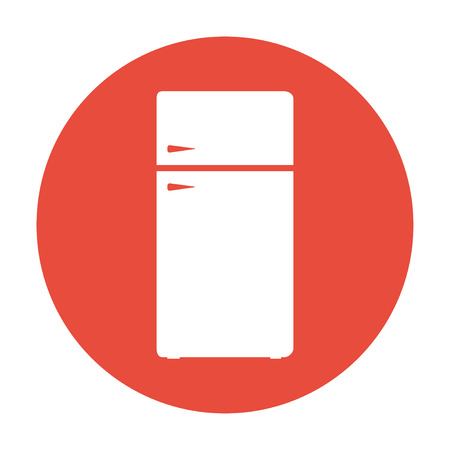 Icon of refrigerator. Flat design style