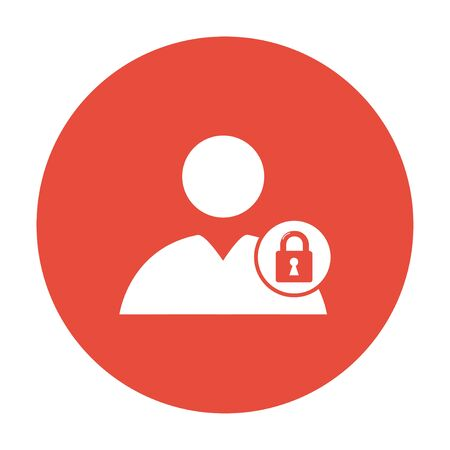 User icon, lock icon.  Flat design style