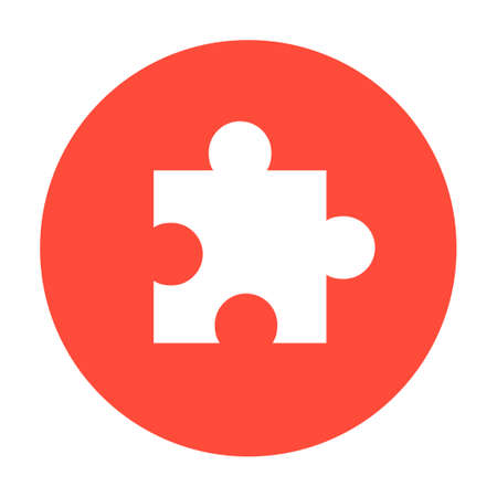 incomplete: puzzle Flat Icon, isolated. Flat design style
