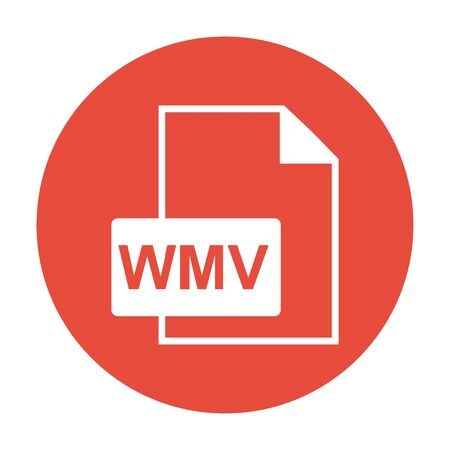 wmv: wmv file icon. Flat design style