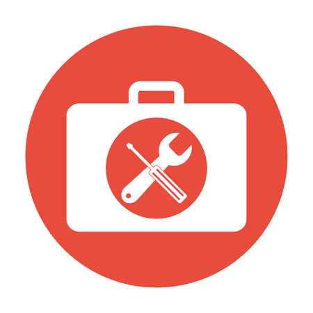 tooling: Toolbox vector icon. Flat design style