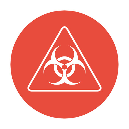 infectious waste: bio hazard sign or icon, flat Illustration