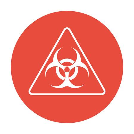 the bacteria signal: bio hazard sign or icon, flat Illustration