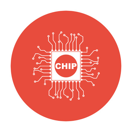 chipset: Vector chip icon, isolated illustration Illustration