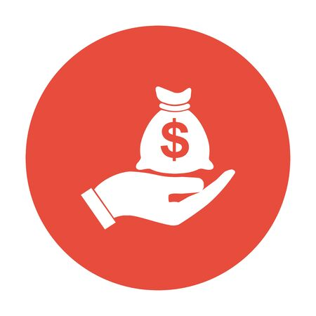 hand with a bag of money: Money insurance sign. Hand holds cash bag in Dollars symbol.