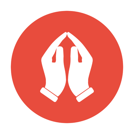 palm of hand: Praying hands icon, vector illustration. Flat design style Illustration