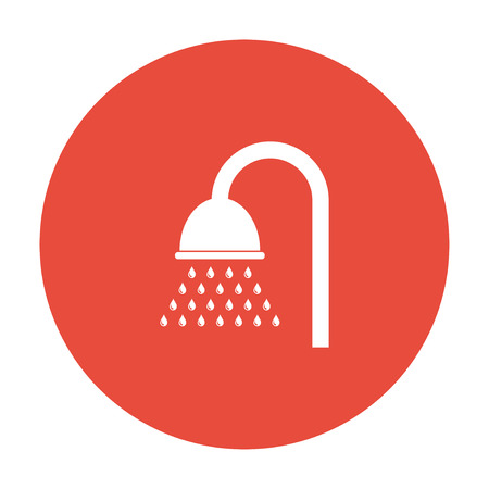 showering: Shower icon. Flat design style