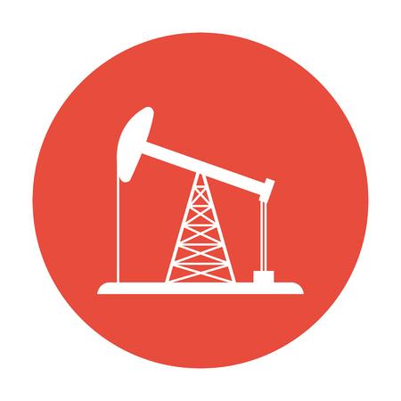 pozo petrolero: Icono de la plataforma petrolera. Estilo de diseño Flat