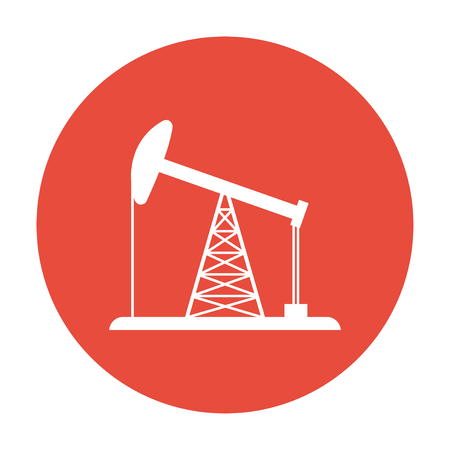 petrol pump: Oil Rig Icon. Flat design style
