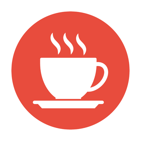 hot coffee: coffee cup icon. Flat design style