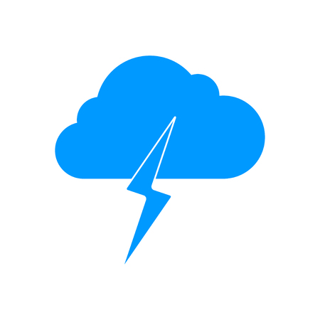 Lightning bolt weather flat line icon infographic illustration template for web or brochure. Vector illustration.