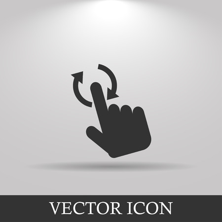 scanned: Sign emblem vector illustration. Hand with touching a button or pointing finger