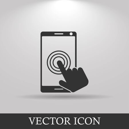 ereader: Touch screen smartphone icon. Flat design style Illustration