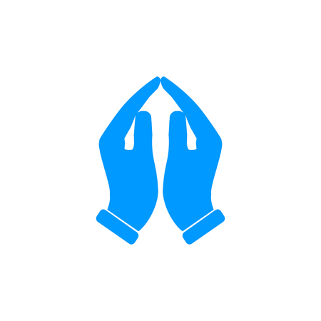 worship and praise: Praying hands icon, vector illustration. Flat design style Illustration
