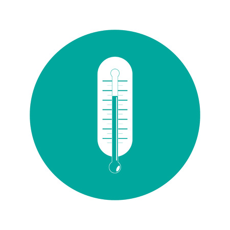 coldness: Flat style with long shadows, thermometer vector icon illustration