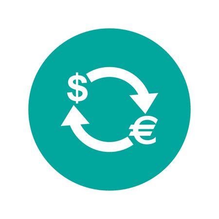 convert: Money convert icon. Euro Dollar. Flat design style
