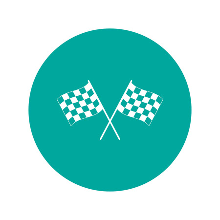two crossed checkered flags: racing flag icon. Flat design style eps 10