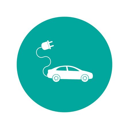 electric car icon. Flat design style eps 10