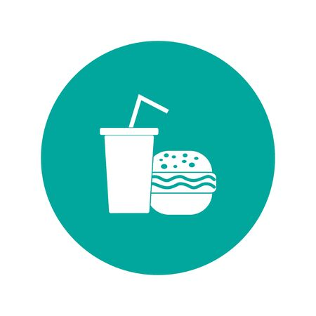 blue cheese: burger and paper cup with a drink. symbol of fast food.