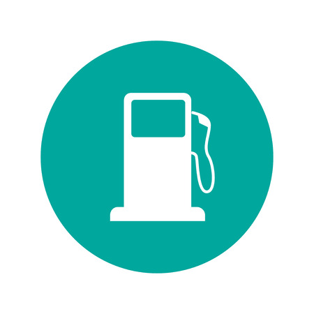 gas: Gasoline pump nozzle sign. Gas station icon. Flat design style.