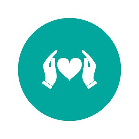 hands holding heart: Vector icon - hands holding heart. Flat design style