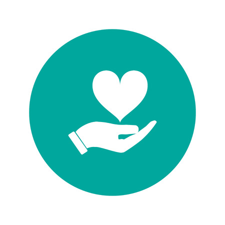 mercy: Vector icon - hands holding heart. Flat design style