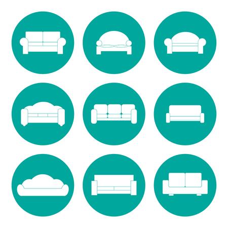 Comfortabele bank Icons. Vector Illustrator.