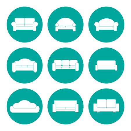 Comfortable sofa Icons. Vector Illustrator.