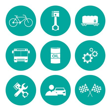 shifter: Transportation icons. Flat design style Illustration
