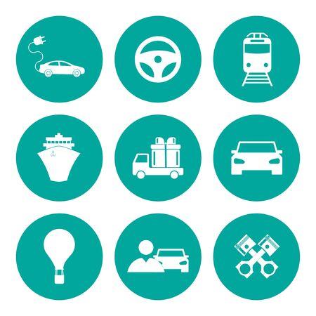 transportation icons: Transportation icons. Flat design style Illustration
