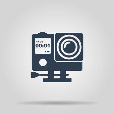 pro: Action camera outline monochrome icon. Extreme cam. Flat design style