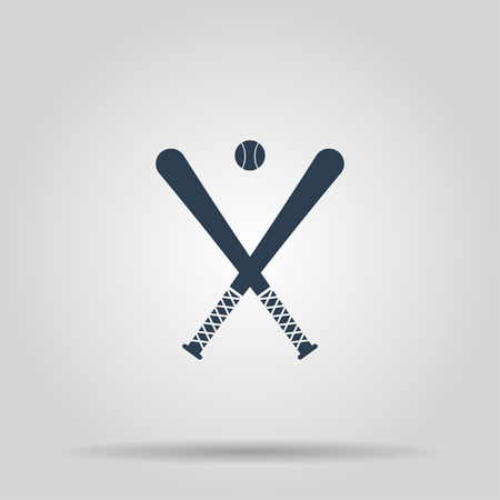 pitching: Vector crossed baseball bats and ball set.