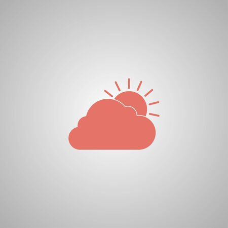rooster at dawn: sun cloud icon. Flat design style Illustration