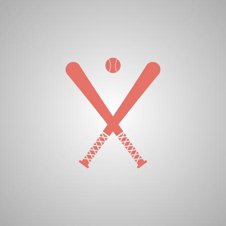 major league: Vector crossed baseball bats and ball set.