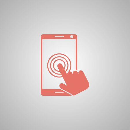 multi touch: Touch screen smartphone icon. Flat design style Illustration