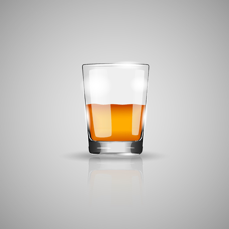 scotch whisky: Glass of whiskey isolated photo-realistic vector illustration