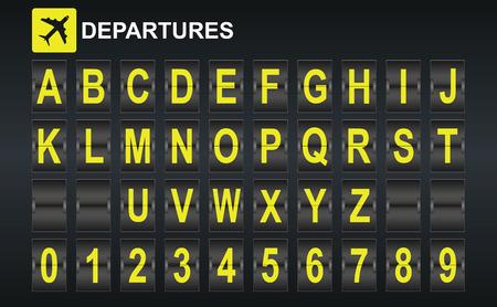 Alfabeto in arrivo all'aeroporto e modello di visualizzazione di partenza in stile. Facile da mettere insieme tutte le parole e numeri.