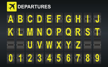 departure: Alphabet in airport arrival and departure display style template. Easy to put together any words and numbers.