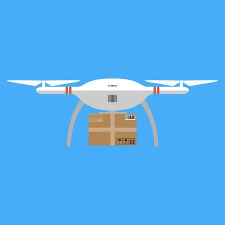 costumer: Concept for delivery service. Delivery drone with the package. Flat design colored vector illustration.