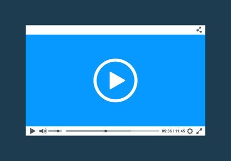 windows media video: Flat clean video player for web. Vector Stock Photo