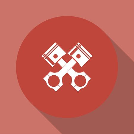 fuel rod: Piston icon. Flat design style eps 10 Illustration